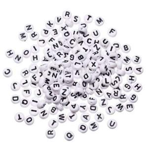 """1000 قطع الأبيض جولة الأبجدية الخرزة الاكريليك الخرز مختلط رسالة diy فضفاض الخرز ل الديكور سوار مجوهرات اكسسوارات 7 ملليمتر (1/4 """")"""