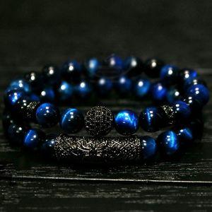 2 pc / set Natural olho de tigre pérola contas pulseira set, jóias para homens e mulheres, material elástico beads Pulseira de Pulso acessórios