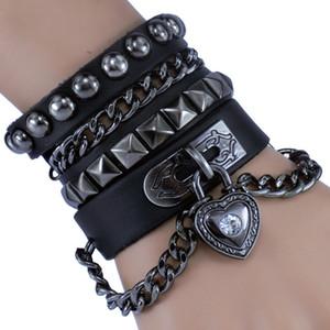 Unisex Punk Rock Rivet Studs Wristband Heart Charm Chain Leather Wrap Bracelet