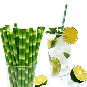 Бумажные соломинки 19.5 см одноразовые пузырь чай толстый бамбуковый сок питьевой соломы 25 шт. / лот экологически чистые молоко соломы день рождения свадьба подарки