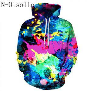 N은-olsollo 다채로운 페인트 얼룩 잉크 디지털 느슨한 캐주얼 후드 후드 풀오버 S / M L / XL XXL / XXXL 폴리 에스터 / 스판덱스 최고 인쇄하기