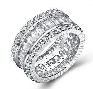 OEM блестящий Сона лестница сторона имитировать бриллиантовое кольцо стерлингового серебра 925 платины покрытием обручальное кольцо группа ювелирных изделий оптом