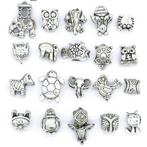 Mix Style Beads Antique Silver Plated Alloy Big Hole Charms Spacer Beads fit pandora bracelet DIY Jewelry Necklaces & Pendants charms
