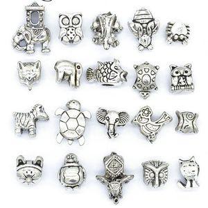Mélanger des perles d'alliage d'argent en argent antique Grand trou Big Hole Charms spacer Beads Fit Pandora Bracelet DIY Bijoux Colliers Pendentifs Charms