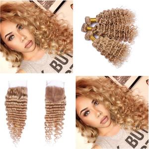 Strawberry Blonde 27 Extensiones de cabello de onda profunda con cierre Malasia 9A Color puro 27 Cabello rizado profundo 3 Paquetes con cierre superior 4x4
