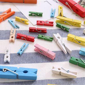 100pcs / lot mini molla clip di legno mollette di legno variopinto del mestiere Pegs Hanging clip vestiti di carta Photo Paper Peg Pin fai da te 12bag T1I974