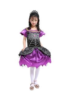 Фиолетовый красивый паук Королева одеваются костюм с головные уборы Принцесса платье костюмы Маскарад косплей детские костюмы Хэллоуина