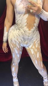 DJ Songbird Cristalli Ali Angel Tuta Bianca Piuma 3D Stampata Tuta Nigthclub Cantante Dance Outfit Strass Pagliaccetti di scena vestito