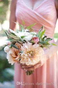 Простые V-образные вырезывающие короткие шифоновые платья невесты, плиссированные вечерние платья вечерних платьев Vestidos de Novia Prom Prom Range Prong Hait