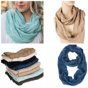 7 color Winter Scarf For Girls Women Acrylic Warm Circle Loop Scarf Neck Scarf Comfortable Solid Color Warm Scarves KKA5902