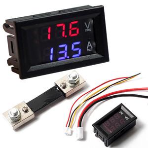 """Novo Voltímetro Digital Amperímetro 0.28 """"Dual Display Voltímetro Amperímetro Amp Volt Medidor De Corrente Shunt DC100V 100A Vermelho / Azul LEVOU"""