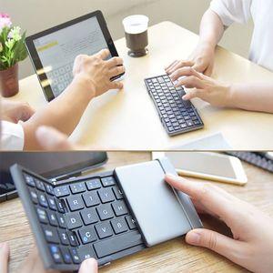 Clavier Bluetooth pliable en aluminium Clavier sans fil avec la taille de poche portable pour iPad iPhone Samsung Tablettes Smartphones