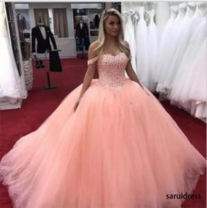 어깨 스윕 열차 주요 구슬 파티 댄스 파티 드레스 공 가운 Quinceanera 드레스를위한 6 개의 드레스