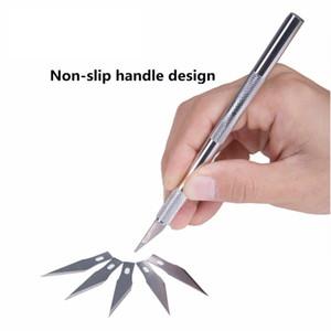 Инструмент для резки ножей для скальпеля с металлическим скальпелем Режущий инструмент для резки режущего инструмента Ручки для резки ручек + 6 шт. Лезвия для ремонта печатных плат DIY Tool
