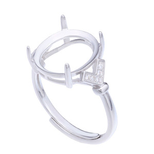 Semi Mount Ring Settings For Big Oval Stone With Side CZ 12x14mm 13x18mm Solid 925 Sterling Silver Women Jewelry Bride Wedding Gifts