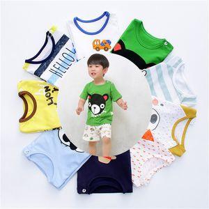 Crianças pequenas conjunto de roupas infantis bebê menino meninas dos desenhos animados de manga curta camiseta calças terno 2018 moda verão conjuntos de pano de impressão