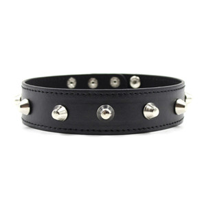 PU Leather Neck Collars Rivets Necklace Fetish S&M Slave BDSM Bondage Restraints Sex Products for Couples Sex Toys Women Men