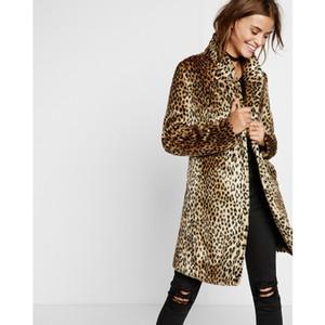 90er Jahre Leopard Jacke Leoparden-Druckmäntel 1990er Jahre Frauen Winter Warm-Faux-Pelz-Langmantel Gepard-Mantel