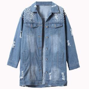 Chaqueta de mezclilla con cuentas femenina nueva chaqueta de abrigo largo BF suelta