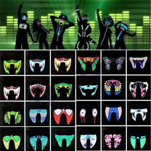New Waterproof LED Luminous Flashing Cool Face Mask Party Masks Light Up Dance Halloween masks Costume Decoration Cosplay Party SuppliesI318