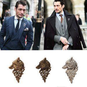 남성용 패션 슈트, 브로치, 횡포 한 성격, 늑대 머리 토템, 레트로 핀 핀 장식