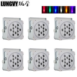 6pcs / lot 12x18w RGBWA UV 6IN1 sans fil alimenté par batterie DMX Led Flat Par Light Light Wedding Party