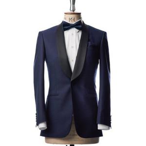 Blue Wedding Party Men Suits 2018 Groom Wear Black Shawl Lapel Custom Made Two Piece Wedding Groomsmen Tuxedos (Jacket + Pants)