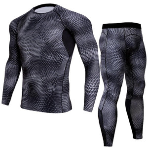 LINDSEY SEADER Estampado de serpiente para hombre Gimnasio Fitness out fit training Pantalón de running Jogging Suit compress longsleeve set shirt + pantalón
