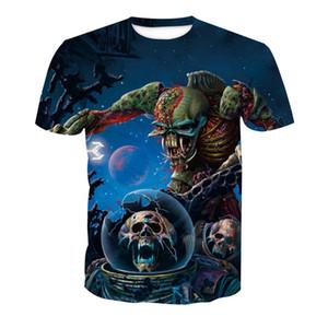 Wholesale Free Shipping Custom Design 3D Many Skulls Transfer Printing Couple Short Sleeve Fashion Tshirt Tops