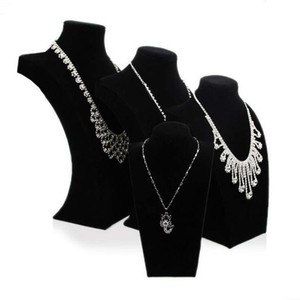 Terciopelo negro gran soporte de exhibición de la joyería accesorios de maniquí de madera tesoro cofre collar colgante joyero titular forma libre envío