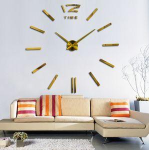 3D gran espejo de acrílico reloj de pared bricolaje reloj de cuarzo bodegón relojes decoración del hogar pegatinas de la sala