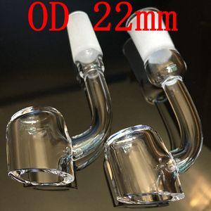 DHL libre 100% cuarzo 4 mm de espesor cuarzo banger clavo OD 22 mm sin hogar 90 grados o 45 grados de curva sin hogar cuarzo clavo club banger
