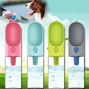 Cachorro de gato botella de alimentación del perro a prueba de agua 400ML portátil al aire libre Aguas dispensador de fugas tazón de mascota Suministros 89cz CY