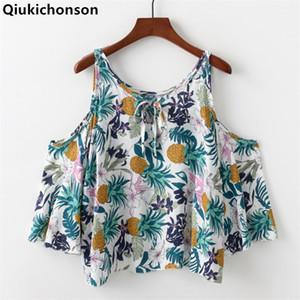 Qiukichonson Ombro Frio Encabeça Senhoras 2018 Verão Bohemian Estilo Abacaxi Impressão Floral Blusa Kawaii Baby Doll Camisas Recortadas