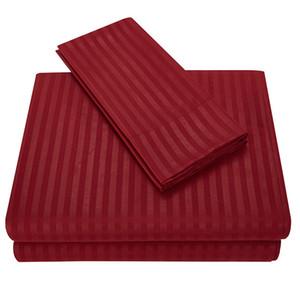 Ventas al por mayor 11 colores Stripe Egyptian 1800 Count Twin ~ King Size Juegos de cama Sábanas Juegos de cama Queen Juegos de edredones King Size