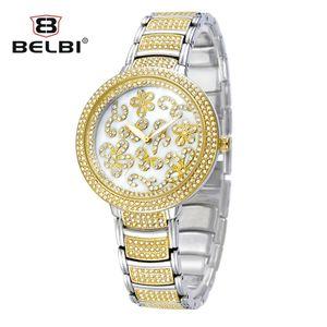 Luxo liga de diamantes incrustada flor relógio de quartzo das mulheres à prova d 'água relógio full-perfurado grande mostrador de relógios de quartzo