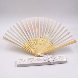 Wedding Favors and Gifts for Guest pure color silk Fold hand Fan Wedding Decorations Hand Folding Fans With Gift Box WQ34