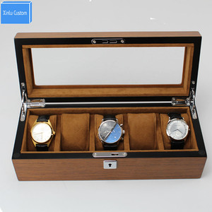 Best Heavy Wood Skin Luxury Watches Box Case 5 Grids Wristwatch Packaging Household Business Classsic for Brand Watches Display Storage Use