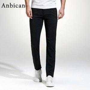 Anbican 2017 Moda Pantalones Casuales Negros Hombres Primavera y Verano Bolsillos Rectos Pantalones Chinos Pantalón Largo Completo Slim Fit Vestido de Hombre