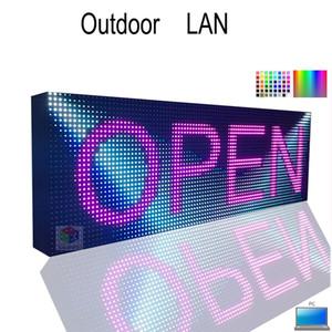 "38 ""x12.6"" Letrero LED LAN y USB Información programable de Rolling Información de la pantalla LED P10 RGB Pantalla LED a todo color"