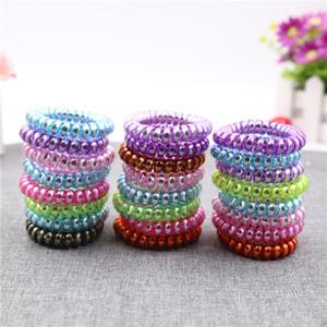 Alta qualità telefono filo metallico gomma per capelli cravatta ragazze elastico fascia per capelli anello corda di colore rosa braccialetto elastico scrunchy colore misto