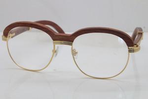 Kostenloser Versand Goldhölzernes Brillen 1116443 Brillen Männer Holz geschnitzt Trimming Objektiv-Glas-Frauen Transparente Linse Dekor Holzrahmen-Gläser