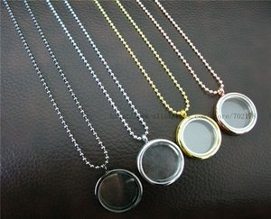 1lot copy stainless steel 30mm Round Magnetic Photo Memory Glass Living Floating Locket Pendant with necklace about 80cm