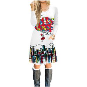 ropa de mujer vestido de manga larga en otoño, 100% algodón vestido estampado en 3D, moda para niñas con capucha camiseta falda globo chándal