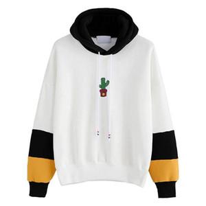 2017 Fashion Hoodie Women Long Sleeve Cactus Print Hoodie Sweatshirt Hoody Pullover Tops Blouse Cotton Blend Jumper Hoodie Women