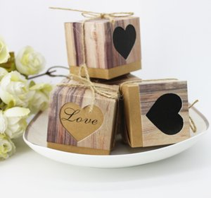 Bolsa de dulces Caja de regalo AMOR Papel artesanal Caja de dulces DIY Caja de regalo para bodas Fiesta de cumpleaños de cumpleaños Galletas dulces Paquete de chocolate