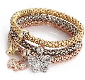 Hot Europe Fashion Jewelry Set Women's Bracelet 3pcs Gold Silver Rose Gold Color Rhinestone Charms Pendant Bracelets S81