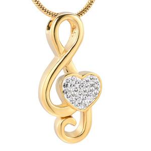 IJD11531Mini cremación cristal del corazón del acero inoxidable de la música Nota de oro de la joyería Memorial Ash Urna collar colgante del recuerdo