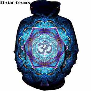 PLstar Cosmos Çiçek Mandala Kapüşonlular Erkek / Bayan 2018 Kazak Kapüşonlular ile Şapka Casual Spor Eşofman