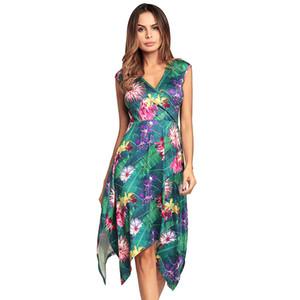 2018New style robe d'été de la mode des femmes d'été V-Neck Flowers Imprimer robe sexy robe de soirée taille S M L XL 2XL